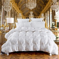 3D luxury 100% Goose Down Duvet quilted Quilt king queen full size Comforter Winter Thick Blanket Solid Color
