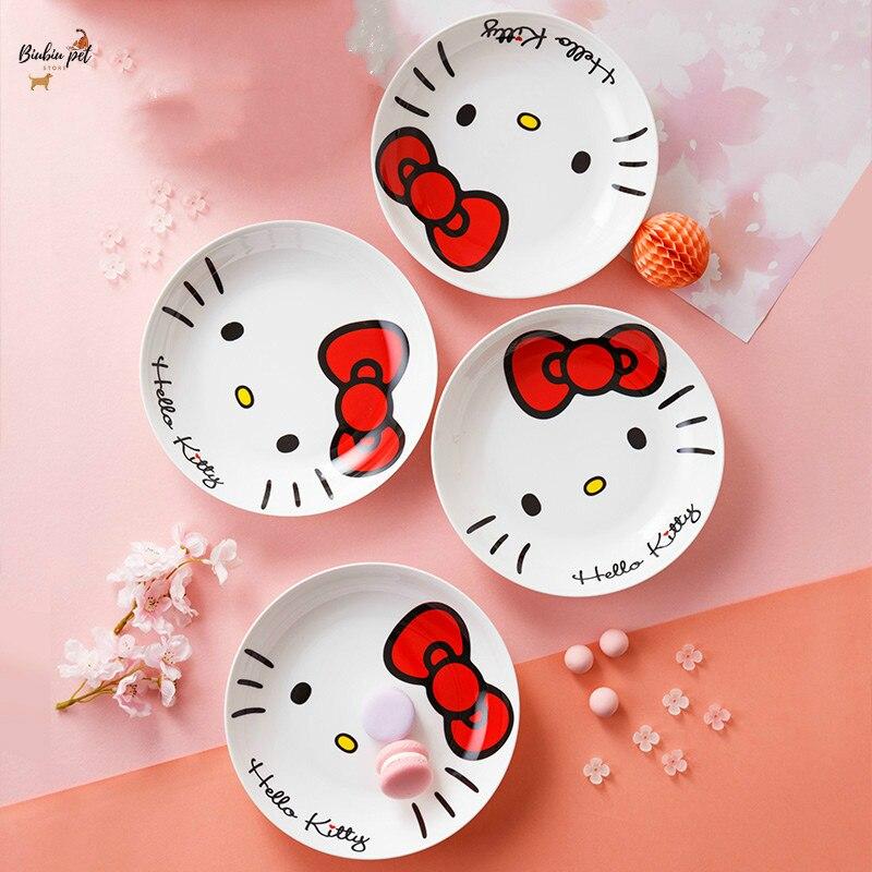 Hello Kitty assiette ensemble de vaisselle ménage bol en céramique japonais créatif tout-chine ustensiles de cuisine 7 pouces 8 pouces assiette en porcelaine