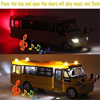 School Bus Toy Die Cast Vehicles Yellow Large Alloy Pull Back 9'' Play Bus with R9JD