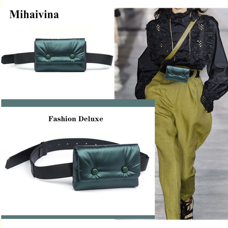 Mihaivi New Waist Bags Women Designer Fanny Pack Fashion Belt Bag Female Mini Cotton Cloth Waist Pack Leather Small Shoulder Bag