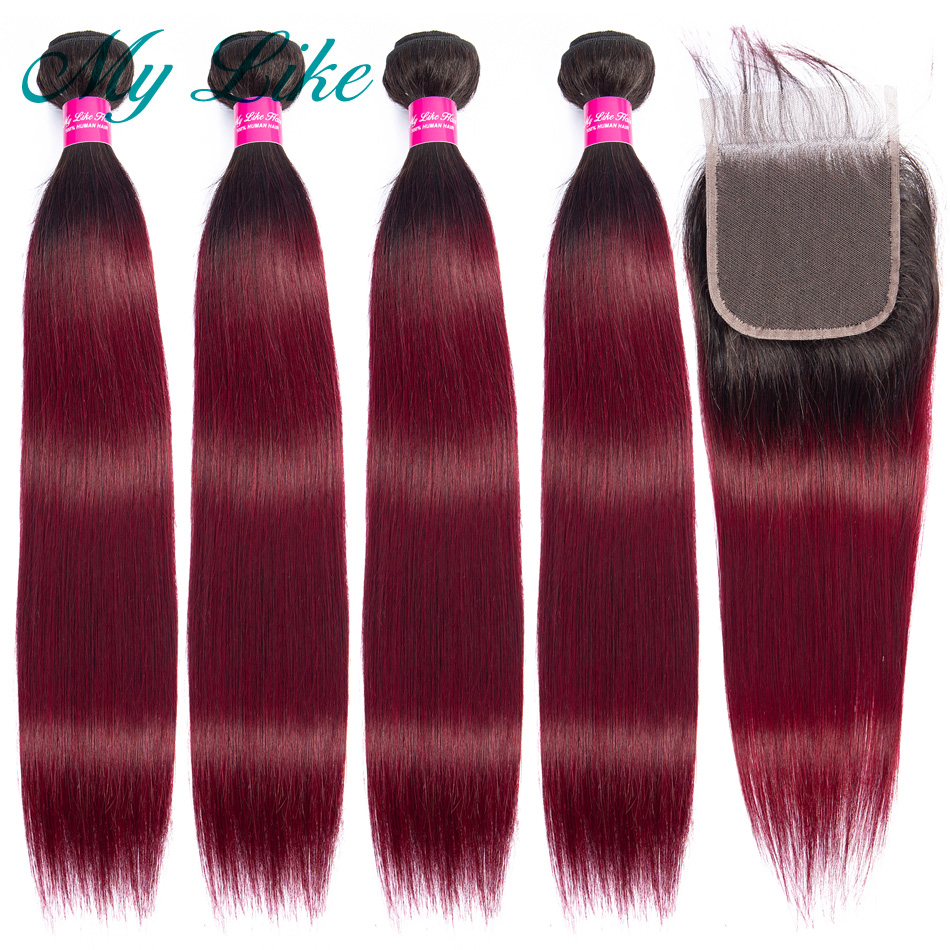 My Like Straight Hair Bundles With Closure 1b 99j Red Burgundy Ombre Brazilian Human Hair Weave 4 Bundles With Closure Non-remy