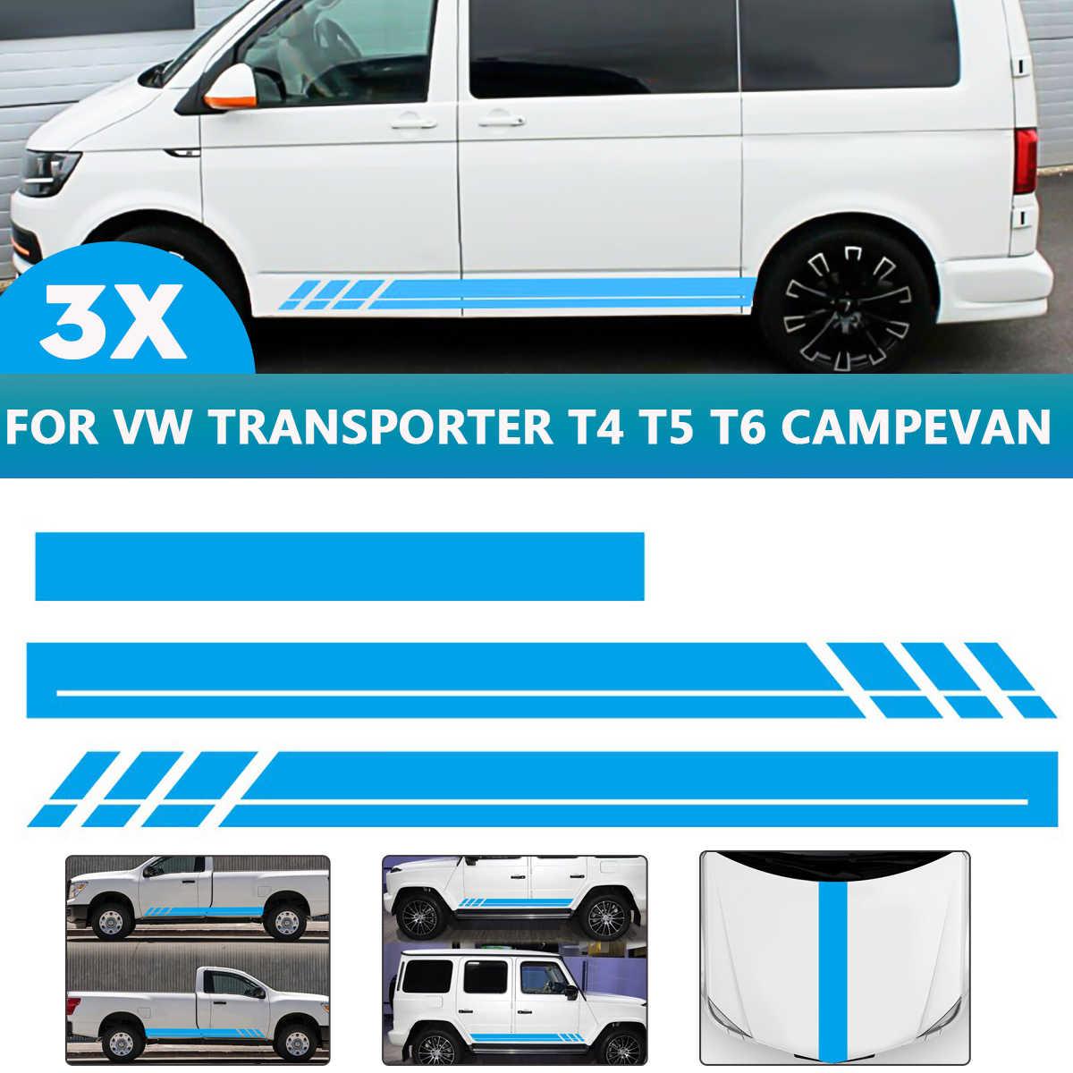 SUPERSTICKI Transporter T4 T5 T6 Multivan Seitenstreifen Racing Stripes beidseitig Aufkleber Autoaufkleber Tuningaufkleber Hochleistungsfolie f/ü r alle glatten Fl/ä chen UV und Waschanlagenf SUPERSTICKI®