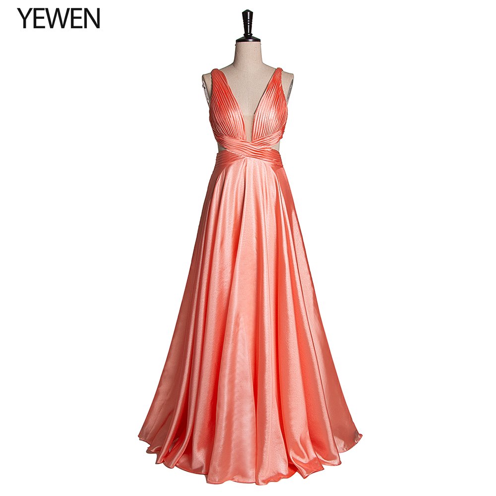 Elegant Evening Dress Long 2019 YeWen Simple A-line Deep V-neck Sleeveless Silk Satin Wedding Party Gowns Vestidos Elegantes