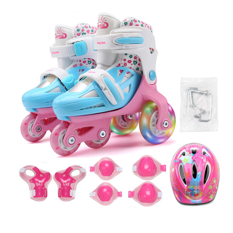 Kids Children Lovely Stable Balance Slalom Parallel Flashing Ice Skate Roller UNBreak Shoes Adjustable Washable For Boy Girl