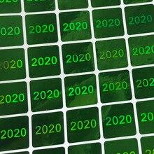 Autocollants pour hologramme 2020, étiquette pour tamprésage dhologramme, vert et argent, 15x15mm