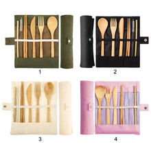 7pcs Eco-friendly Straw Kitchen Utensil Portable Bamboo Utensils Travel Cutlery Set Chopsticks Spoon Fork and Storage Bag