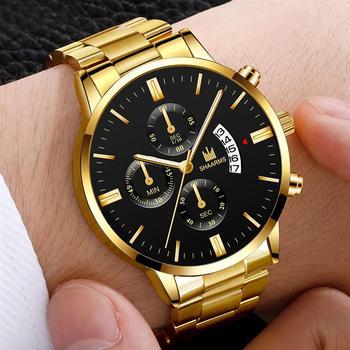 цена на 2020 luxury men's military business quartz watch gold stainless steel strap men's watch date calendar male clock Relogio Direct