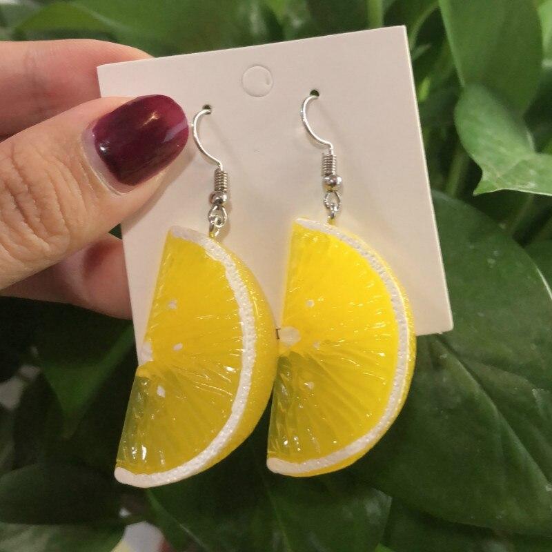 Рождественские серьги с лимоном ДЛЯ woemn 2020, трендовые длинные милые необычные серьги из смолы, подвесные модные ювелирные изделия с фруктам...