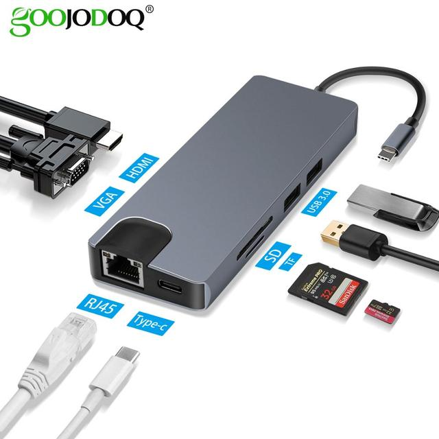 "USB סוג C כדי HDMI VGA Gigabit Ethernet Lan RJ45 מתאם עבור Macbook Air Pro 2018 סוג C USB C רכזת כרטיס קורא USB 3.0 יציאת פ""ד"