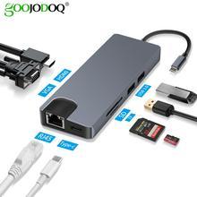 USB Type C naar HDMI VGA Gigabit Ethernet Lan RJ45 Adapter voor Macbook Air Pro 2018 Type C USB C hub Kaartlezer USB 3.0 PD Poort