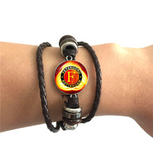 Feyenoord Football Club Glass Cabochon Bracelet Feyenoord Rotterdam Leagues Logo Soccer Club Bangle For Fans Gift 50 cent rotterdam