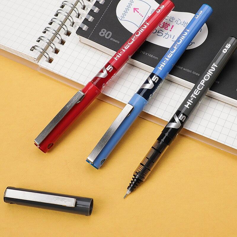 12 PCS Pilot V5 0.5 mm Extra Fine Needle Point Roller Ball Pen Blue Color