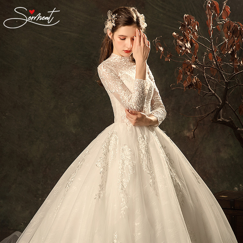 Serment Luxury Full Sleeves Lace Wedding Dress Ball Gown Princess