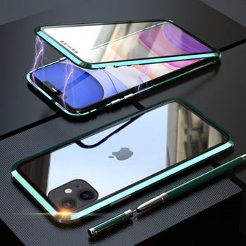 360 Full Protect Magnetic Case for iPhone XR XS MAX X 9 8 7 Plus SE 2020 Case Glass Cover for iPhone 11 Pro Max Case coque Funda - For iPhone 11Pro Max, Green