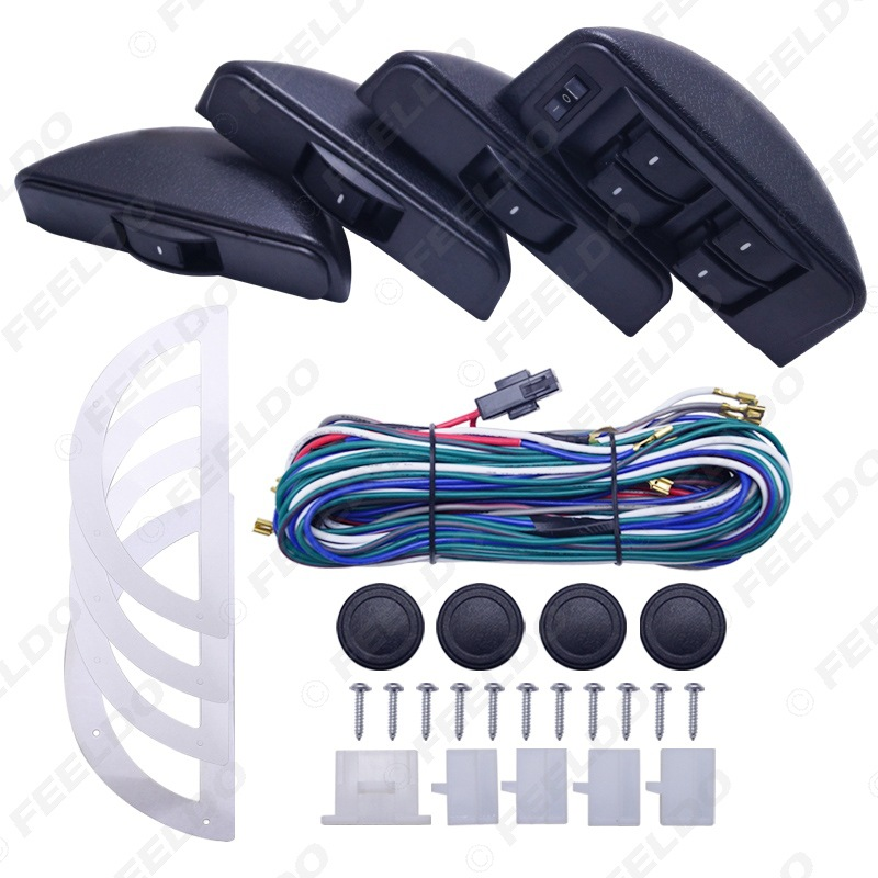 Car Universal Electric Window 4-Door Switch Four-Door Lifter Crescent 8 Switch Electric Windows Switch 12 V/24 V