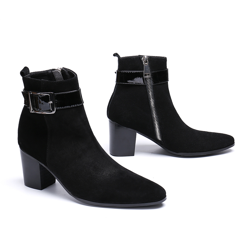 Europe America Winter Pointed-toe Zip Suede Ankle Boots Genuine Leather High Heel Black Boots Fashion Martin Boots