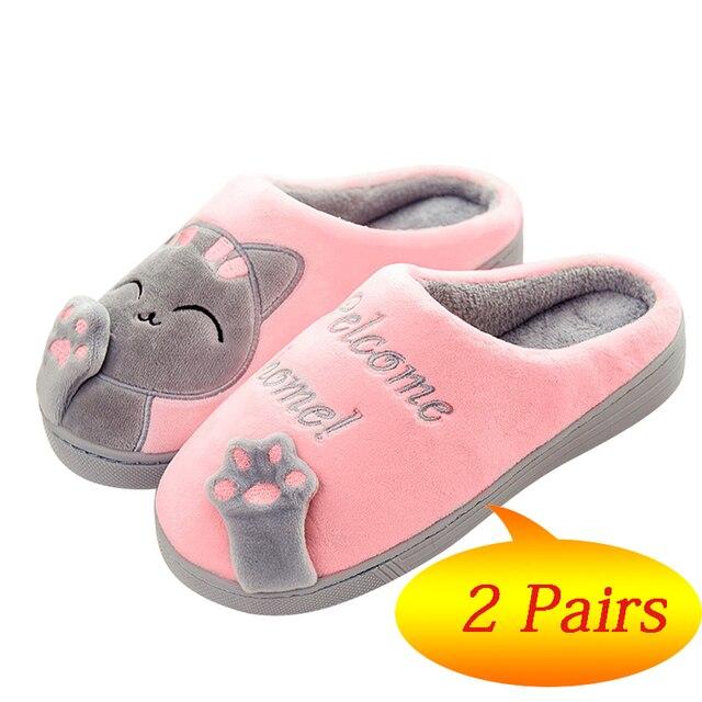2 pares Inverno Sapatos Mulher Chinelos Em Casa Quente Sapatos Casal De Pele Slides Gatinho Bonito Anti skid Piso Interior Mulas pantufa mujer
