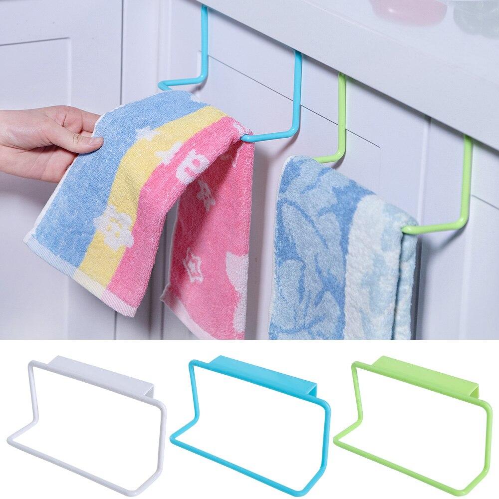 Towel Rack Hanging Holder Organizer Bathroom Kitchen Accessories Cabinet Cupboard Hanger Towel Sponge Holder Storage Rack Gadget