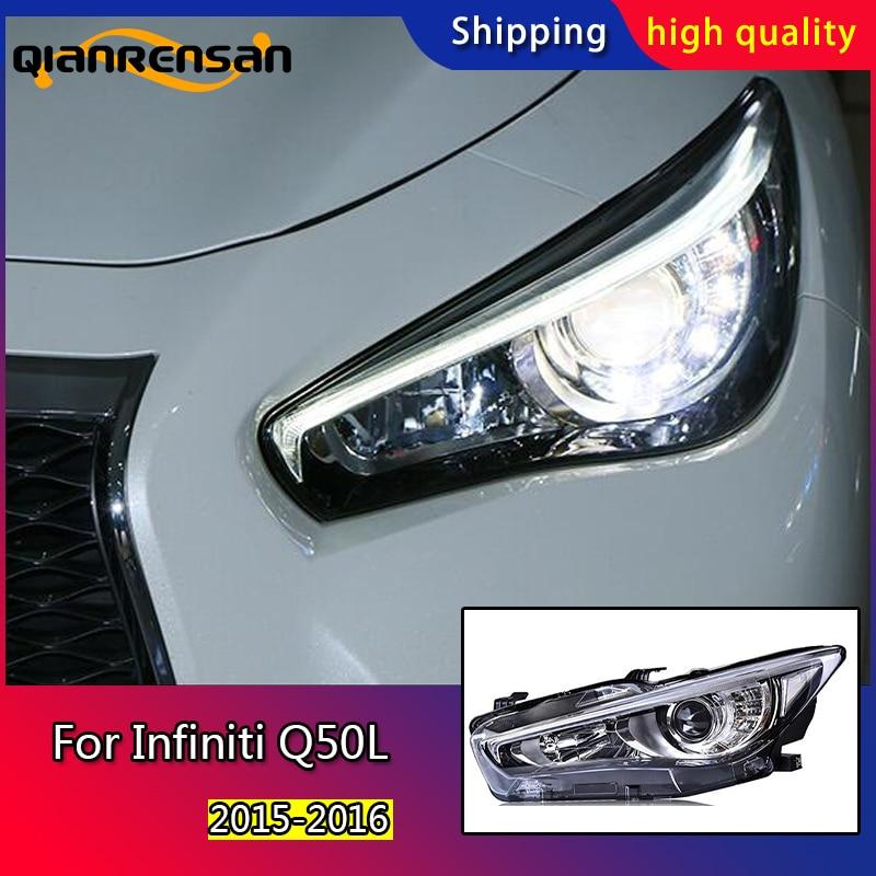 Pour Infiniti Q50L phares U angel eyes DRL 2015 2016 pour Infiniti Q50L lumière LED bar DRL Q5 bi xenon lentille h7 xénon