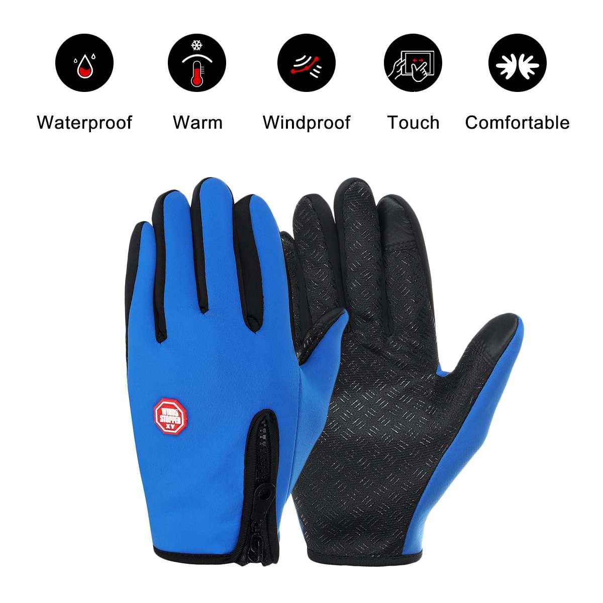 Водонепроницаемые зимние перчатки для сенсорного экрана, мужские теплые лыжные перчатки, перчатки для сноуборда, мотоциклетные перчатки с ...