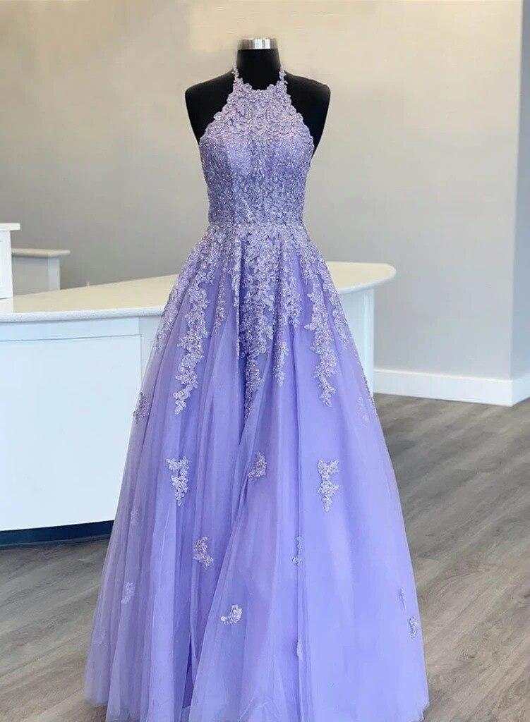 вечерние платья Prom Dresses Long 2020 Tulle Appliques Formal Gowns A-Line Halter Neck Robe De Soiree Long suknie wieczorowe