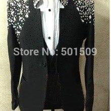 N реальные фотографии ручной работы бисера роскошный черный/красный/синий/розовый полный горный хрусталь блестящий мужской смокинг костюм/сценическое представление, только куртка