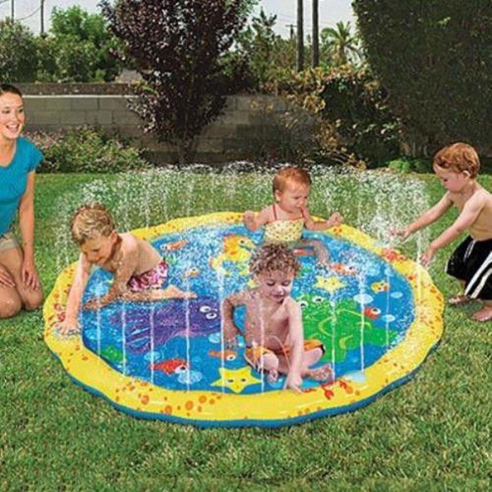 100/150/170cm Summer Children Water Game Play Mat Kids Outdoor Splash Mat For Kids Pool Games Toy Sprinkle Splash Water Toys