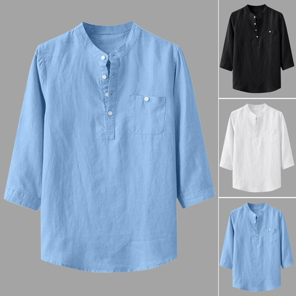 2020 Men's Loose Cotton Linen Solid Color Three-quarter Pocket Pocket Collar Shirt
