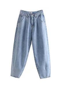 Tangada Mom Jeans Long Trousers Denim Pants Streetwear Loose Zipper Blue Female Fashion