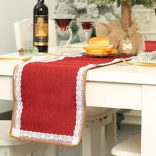 Christmas Durable Burlap Lace Table Runner Flag well-distributed Wedding Party Dining Tablecloth Xmas Home Decor