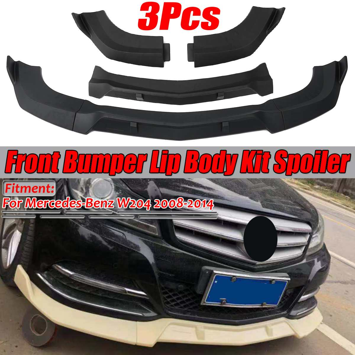 <font><b>W204</b></font> Matte/Gloss Black Car <font><b>Front</b></font> Bumper Splitter <font><b>Lip</b></font> Spoiler Diffuser Protector Cover Trim For Mercedes For <font><b>Benz</b></font> <font><b>W204</b></font> 2008-2014 image