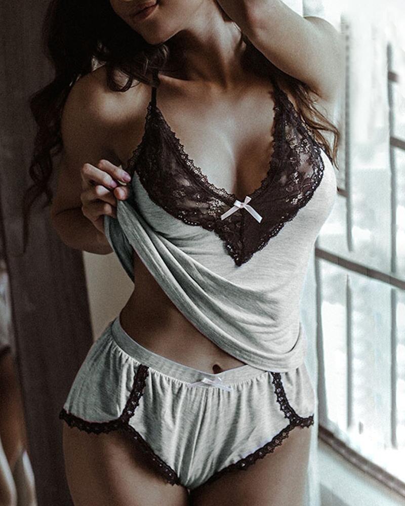 Camisón de algodón suave con tirantes y encaje para mujer, conjuntos de lencería sensual, ropa de dormir íntima, 2020