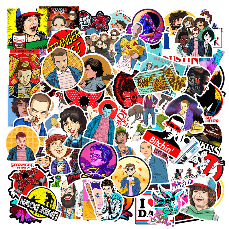 100PCS Pack Stranger Things Cartoon Stickers Stickers Skateboard Suitcase Guitar Luggage Laptop Sticker Kid Classic Toy F5