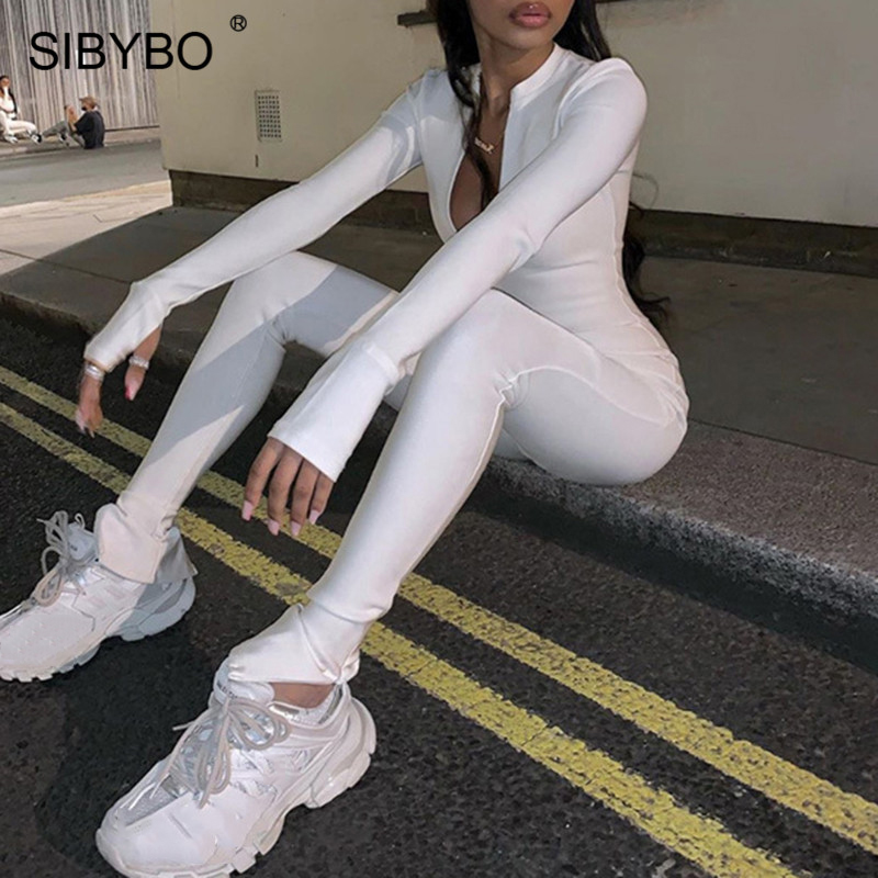 SIBYBO Spring Long Sleeve Sport Casual Jumpsuit Women High Waist Skinny Sexy Rompers Womens Jumpsuit Black Ladies Jumpsuits 2020