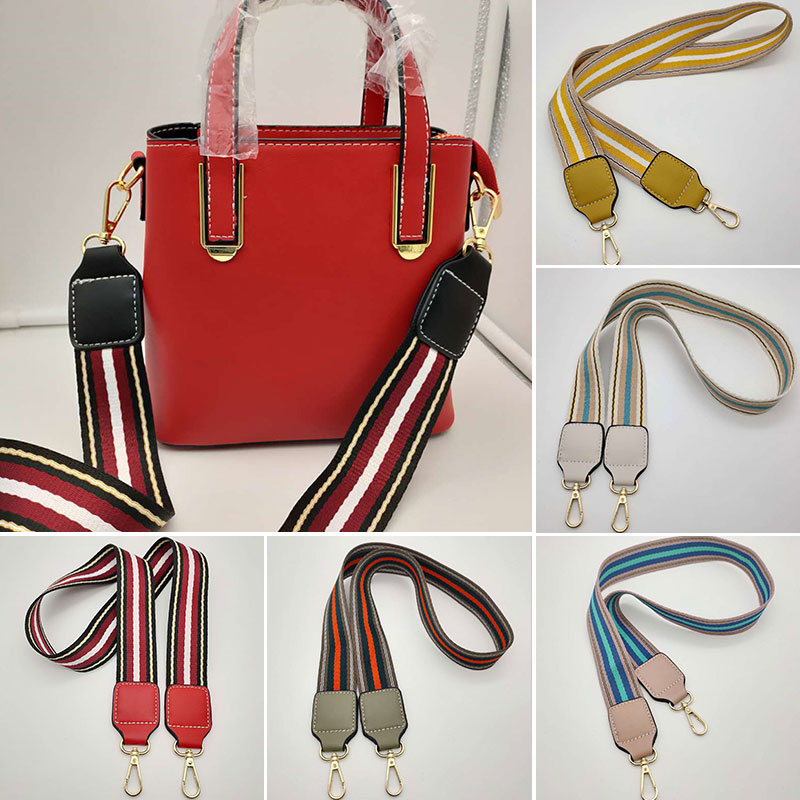 Fashion Striped Wide Bag Strap Handbag Shoulder Bag Belt Strap Multicolor Replacement Bag Accessories Obag Handles Belt For Bags