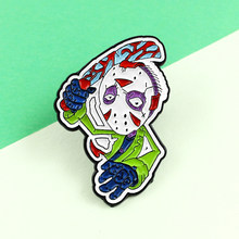 Thrilling Mask Killer Jason Voorhees Friday the 13th Horror Camp Game Punk Gothic Enamel Brooch Denim Badge Gift For Boys Friend(China)