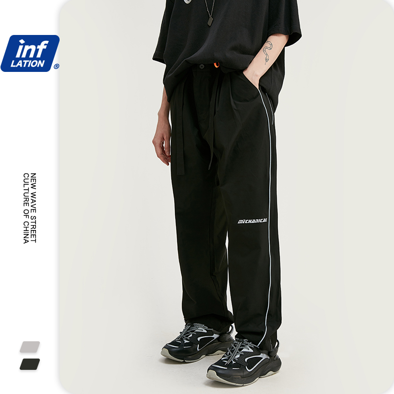 INFLATION Men's Pants Regular Straight Casual Pants 2020 SS Collection Hight Street Fashion Trousers Loose Fit Men Pants 3024S20