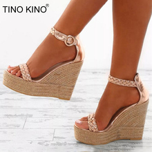 Woman Ankle Strap Wedge Sandals Platform Summer Ladies High Heels Shoes Women Fashion Straw Buckle Open Toe Casual Female maxmuxun women shoes comfort slip on classic high platform wedge sandals 2018 summer ladies open toe buckle strap thick shoes