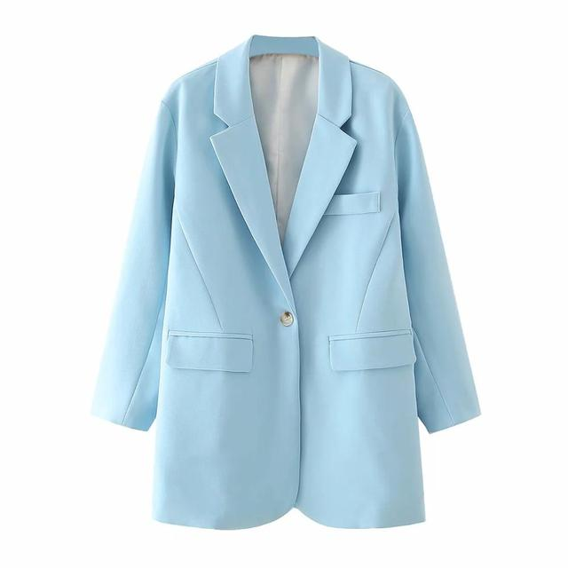 Za Women Blazer Formal Blazers Lady Office Work Suit Pockets Jackets Coat Slim Light Blue Women Blazer Femme Jackets Plus Size