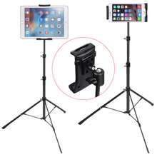 купить YPAY Tripod Floor Tablet Stand Holder 360 Adjustable for Ipad Air Pro 4-12 Inch Tablet Phone Tripod Stand Mount for iPhone X 8 дешево