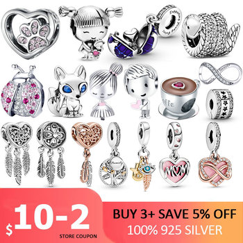 100% 925 Sterling SILVER charms Paw Footprints Beads Cat  Love Heart Charms fit Original Pan Bracelet silver 925 jewelry charms beads 100