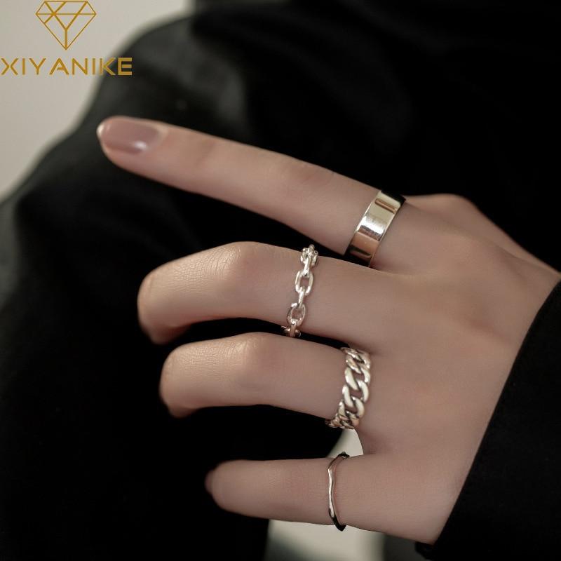 XIYANIKE 925 en argent Sterling coréen large mince chaîne anneau femelle INS Simple à la main ouverture Index doigt mode bijoux Couple