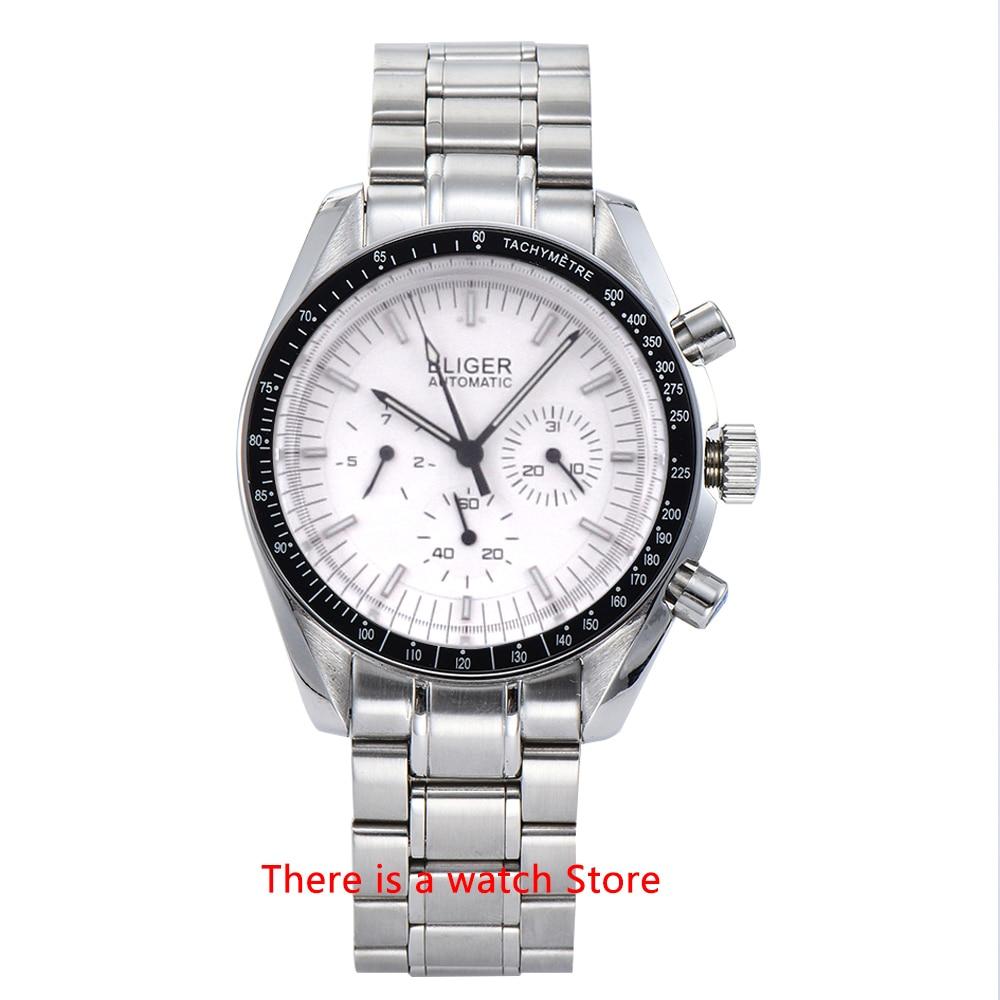 Bliger 40mm Men's Watch Stainless Steel Strap Date & Week Function Luminous Automatic Mechanical Sport Wristwatch Men