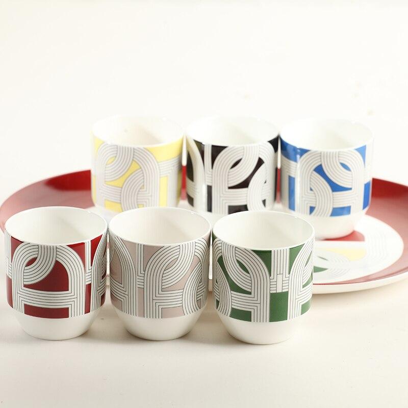 Set de tasses à café en porcelaine | Plateau, tasses 160ml 6 pièces, Set de tasses à café en os 1 pièce