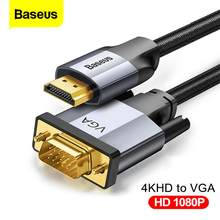 Baseus HDMI uyumlu VGA kablosu 1080P 4KHD VGA HDMI uyumlu ses adaptör kablosu PS4 PC TV kutusu HDMI-VGA dönüştürücü