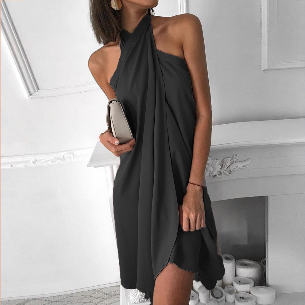 Women Halter <font><b>Dress</b></font> <font><b>Sexy</b></font> Solid Elegant <font><b>Chiffon</b></font> <font><b>Dress</b></font> Autumn <font><b>Backless</b></font> <font><b>Mini</b></font> <font><b>Dress</b></font> image