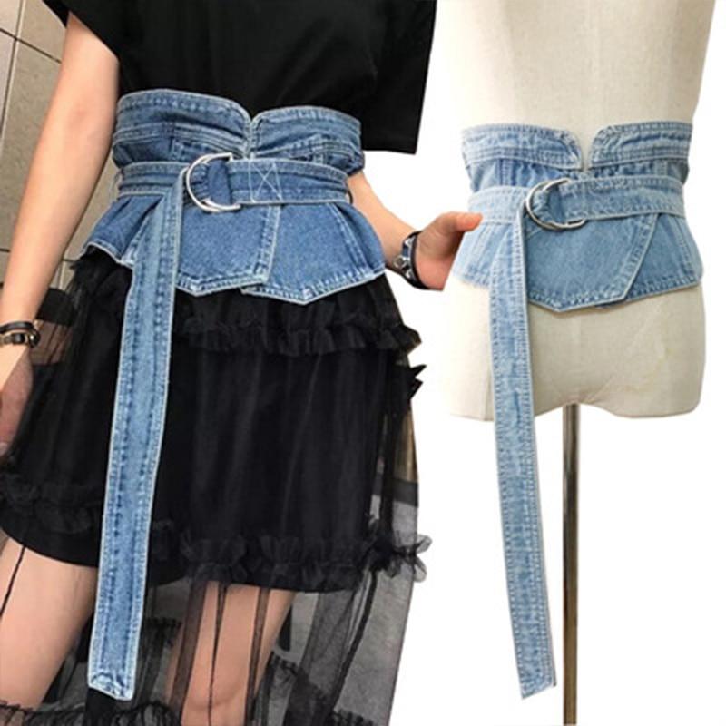 Wide Waist Punk Belt For Woman Vintage Jean Cummerbund Belt New Fashion Denim Slim Clothes Dress Accessories