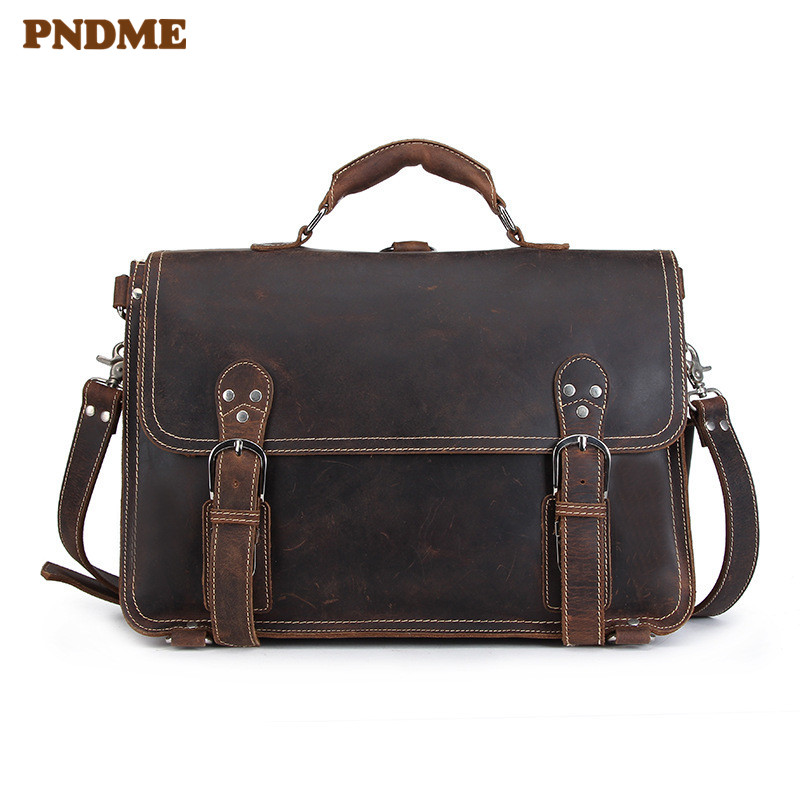 PNDME Vintage High Quality Crazy Horse Cowhide Men's Briefcase Business Travel Genuine Leather Work Large Laptop Messenger Bags