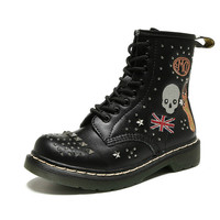 Fashion Vintage Skull Ankle Boots Women Flat Shoes Military Genuine Leather Casual Rivet Ladies Motorcycle Short Boots