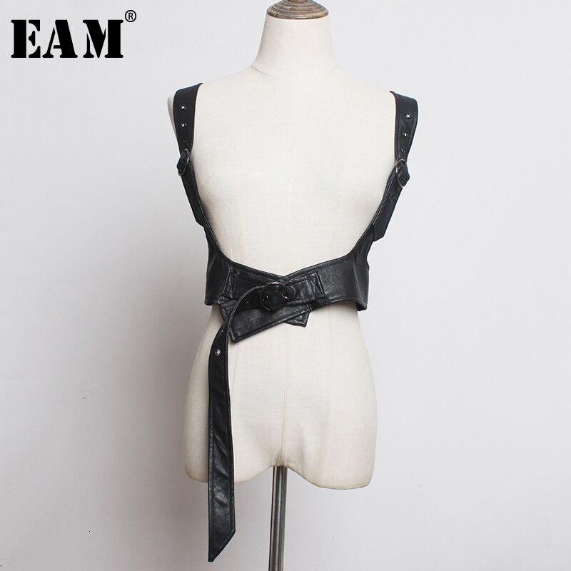 [EAM]  Pu Leather Balck Bangage Split Long Wide Strap Belt Personality Women New Fashion All-match Spring Autumn 2020 1K379